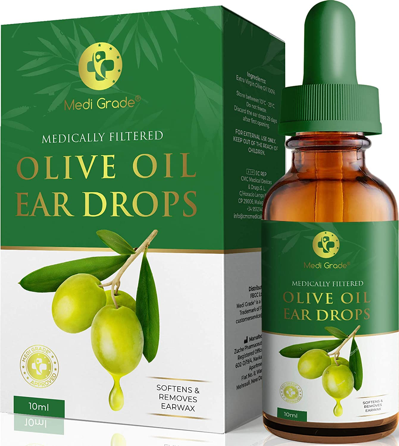 Olive Oil Ear Wax Remover Drops – 100% Pure Earwax Removal Olive Oil, 10ml Bottle – Softens and Removes Waxy Buildup in The Ear - Advanced Ear Wax Remover Drops – Fast Ear Relief