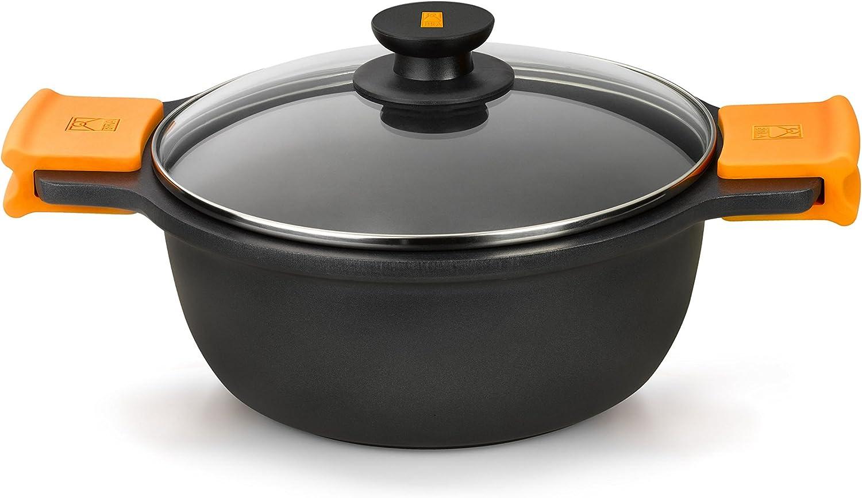 BRA Efficient - Cacerola alta con tapa de cristal y asas de silicona extraíbles, 28 cm, apta para todo tipo de cocinas incluida inducción y horno