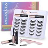 Magnetic Eyelashes with Eyeliner Kit- 10 Pairs Premium 3D Natural Look Reusable Eyelashes with Tweezers Applicator, Strong Ma