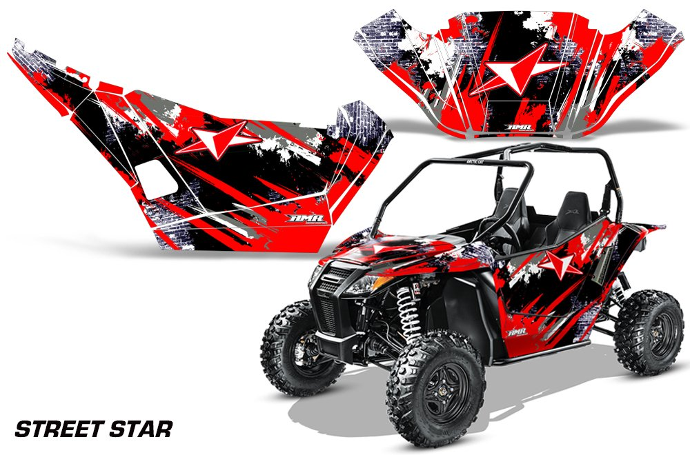 AMRRACING Arctic Cat Wildcat Sport Limited Full Custom UTV Graphics Decal Kit Street Star Red