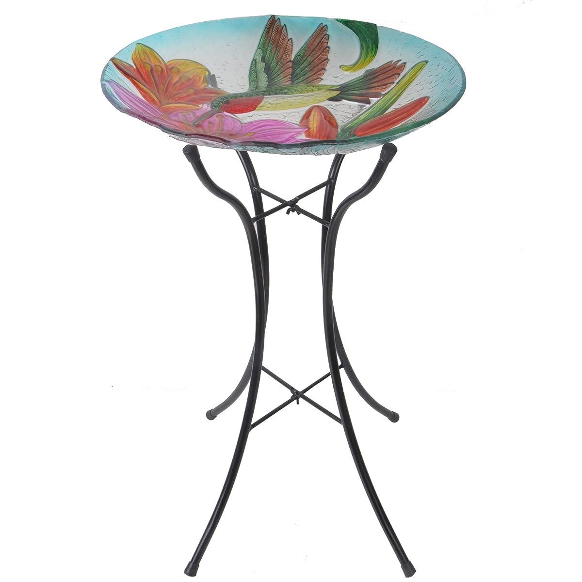 Peaktop Outdoor 18-Inch Hummingbird Fusion Glass Bird Bath w/Metal Stand - Pink and Green