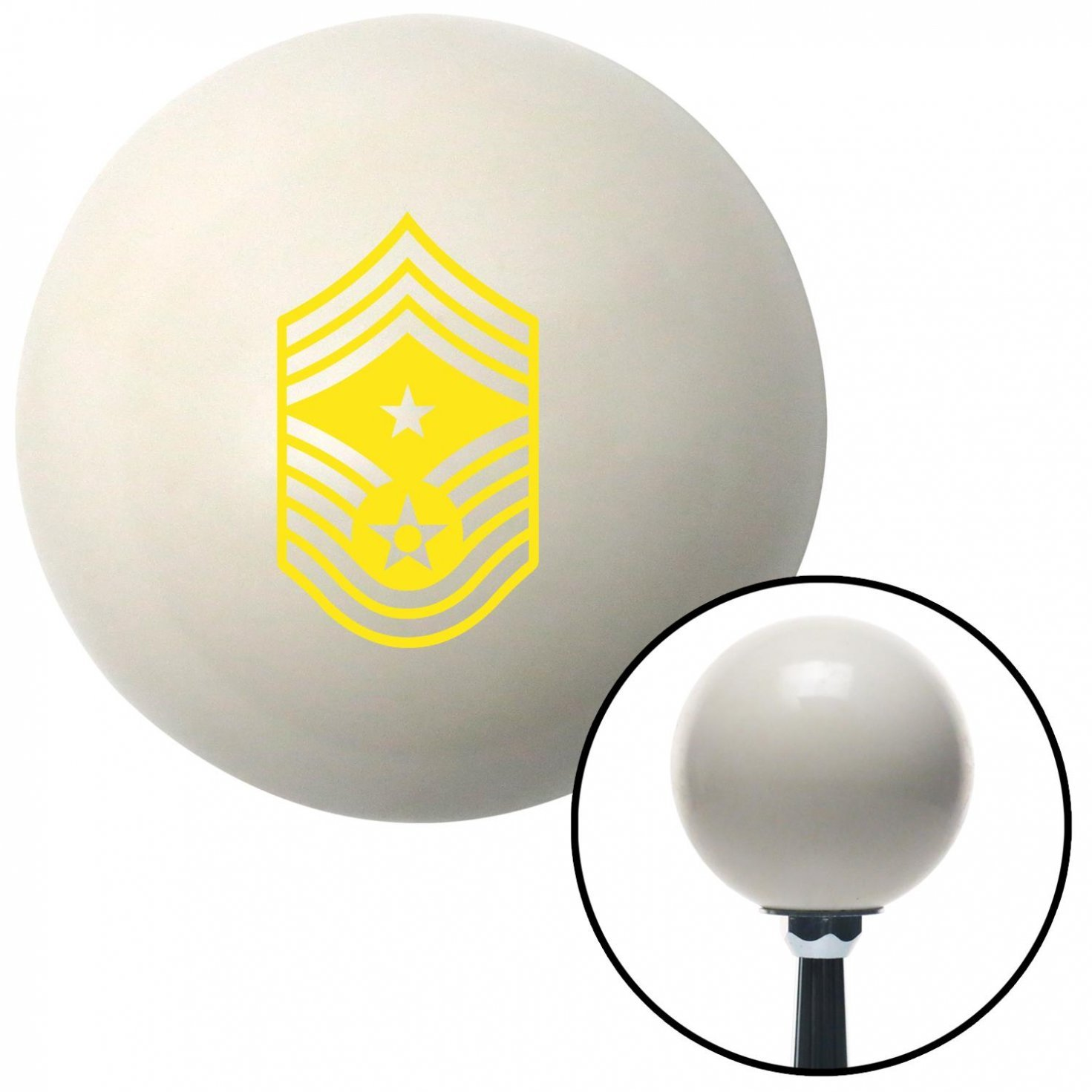 Yellow Command Chief Master Sergeant American Shifter 31920 Ivory Shift Knob with 16mm x 1.5 Insert