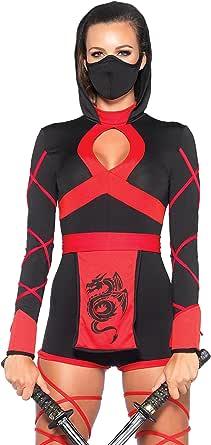 Leg Avenue Dragon Ninja Set-Sexy Romper and Face Mask Halloween Costume for Women
