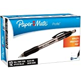 Paper Mate Profile Retractable Ballpoint Pens, Bold Point 1.4mm (2-Dozens, Black)