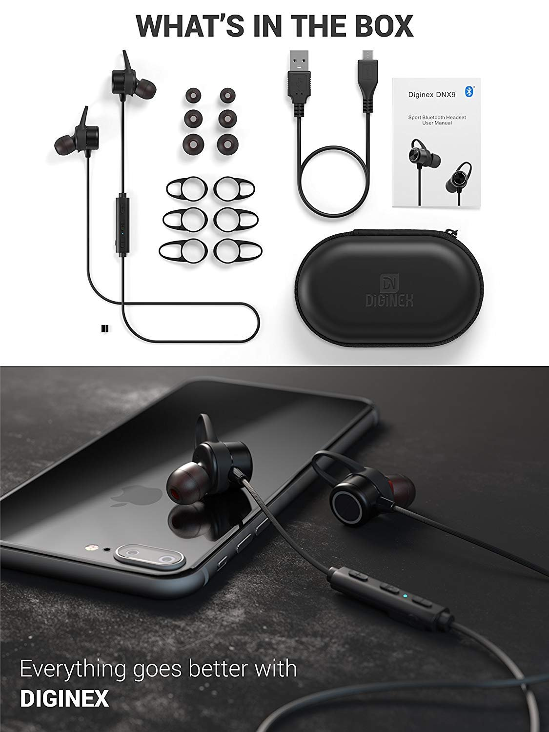 Diginex Bluetooth Earbuds Wireless Magnetic Headset Sport Earphones for Running IPX7 Waterproof Headphones 9 Hours Playtime High Fidelity Stereo Sound and Noise Cancelling Mic 1 Hour Recharge – Black by Diginex (Image #7)