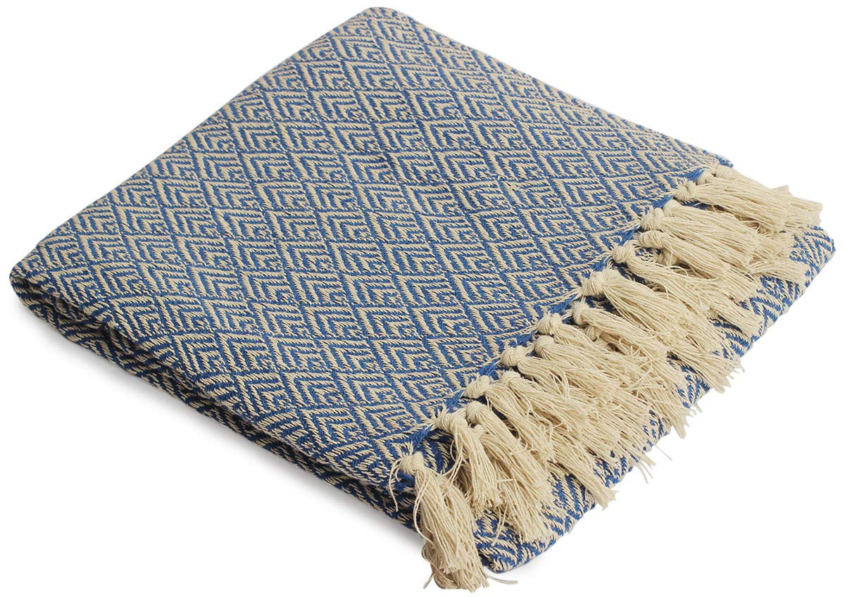 Camping Crafkart Fathers Day Deals on Throws Blue Throw Blanket Picnic Cotton Chevron Patterned Blanket Throw with Fringe for Chair Couch Beach Everyday Use