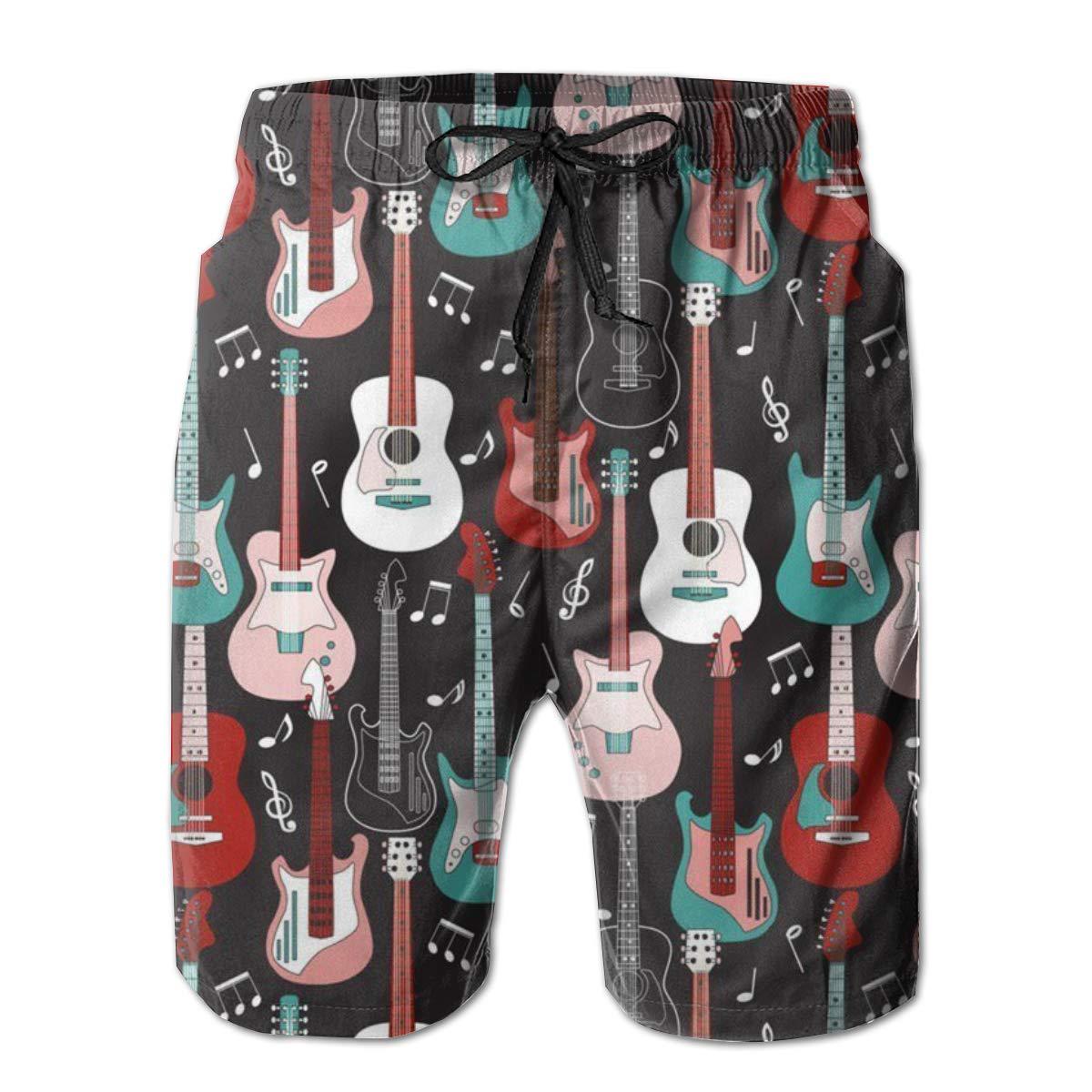 Men's Casual Novelty Board Shorts - Rock and Roll Guitars Beach Wear Shorts - Side Pocket & Elastic Waist Drawstring Running Swimsuit - No Mesh Lining