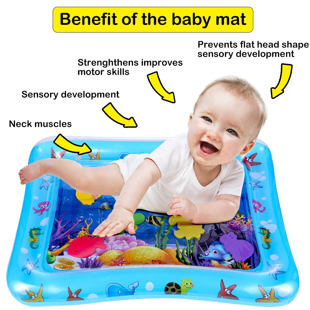 Inflatable Water Mat for Babies Tummy Time Water Playmat Perfect Baby Toys for Your Babys Stimulation and Growth