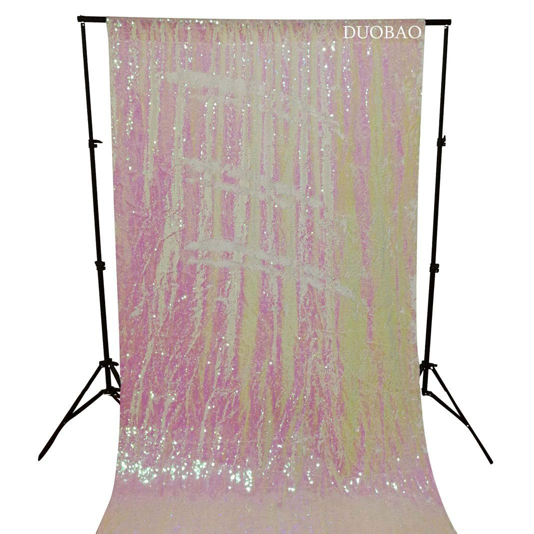 DUOBAO Sequin Backdrop 8Ft Mermaid Sequin Curtains Change White to White Reversible Shimmer Backdrop 6FTx8FT Sparkle Photo Backdrop by DUOBAO (Image #1)
