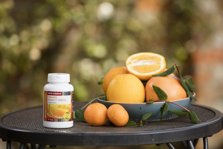 Vitamina C Masticable 1000mg -120 comprimidos - Hasta 4 meses de suministro - SimplySupplements: Amazon.es: Salud y cuidado personal
