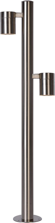 Lucide Arne de LED–Lámpara de pared exterior–Ø 6,3cm–LED–GU10–2x 5W 2700K–IP44–Cromo mate, hierro, cromado satinado, GU10 5 wattsW 230 voltsV