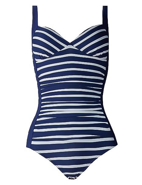 New M/&S Secret Slimming Black /& White Palm Leaf Swimsuit Sz UK 8 /& 16 long