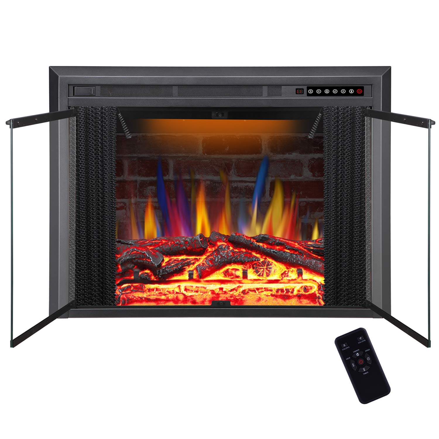 R.W.FLAME 39 Electric Fireplace Insert, Traditional Antiqued Build in Recessed Electric Stove Heater, Glass Door and Mesh Screen,Touch Screen,Remote Control with Timer, Colorful Flame Option