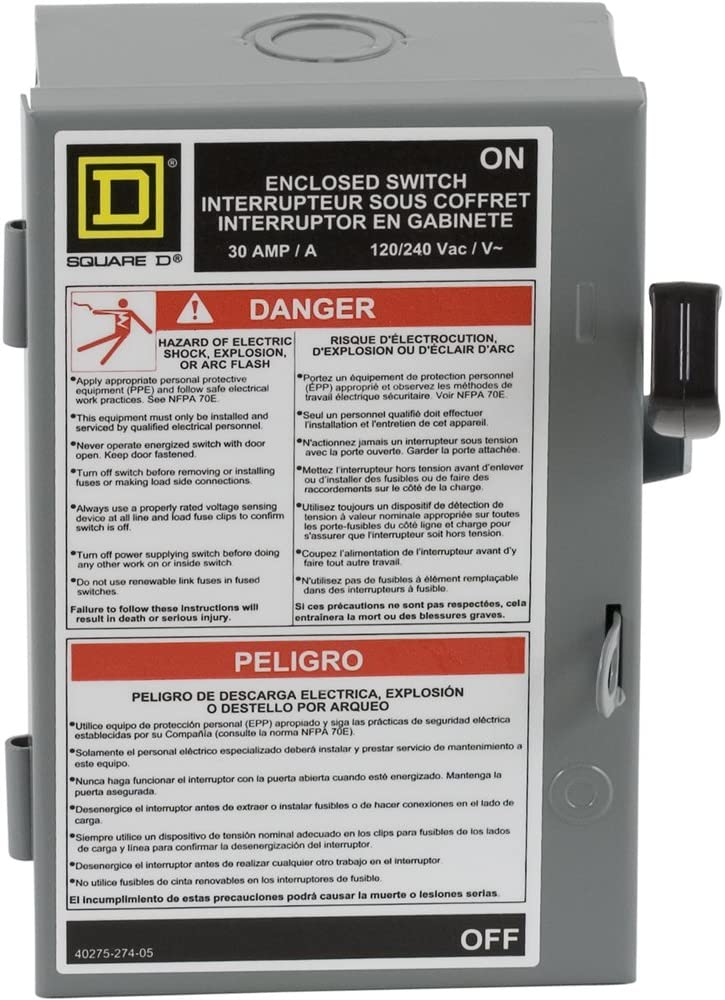 Square D by Schneider Electric L221N 30-Amp 240-volt Two-Pole Indoor Light Duty Safety Switch with Neutral - Circuit Breaker Panel Safety Switches -