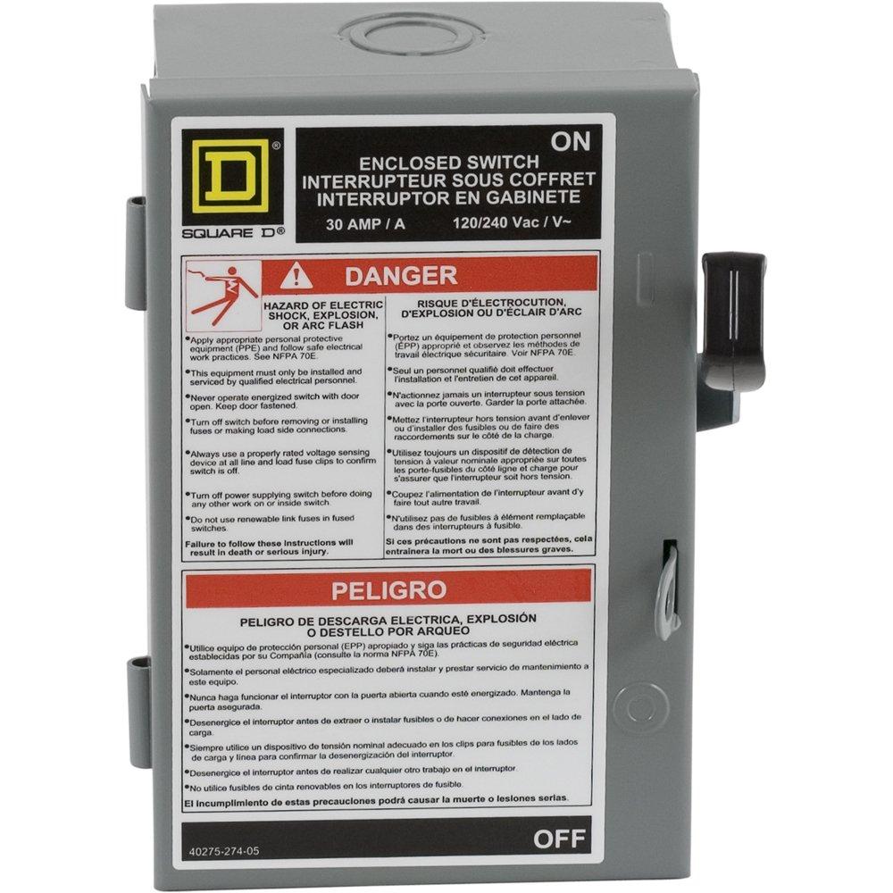 Square D por SCHNEIDER ELECTRIC l221 N 30-amp 240-volt two-pole interior luz deber Interruptor de seguridad con Neutral: Amazon.es: Bricolaje y herramientas