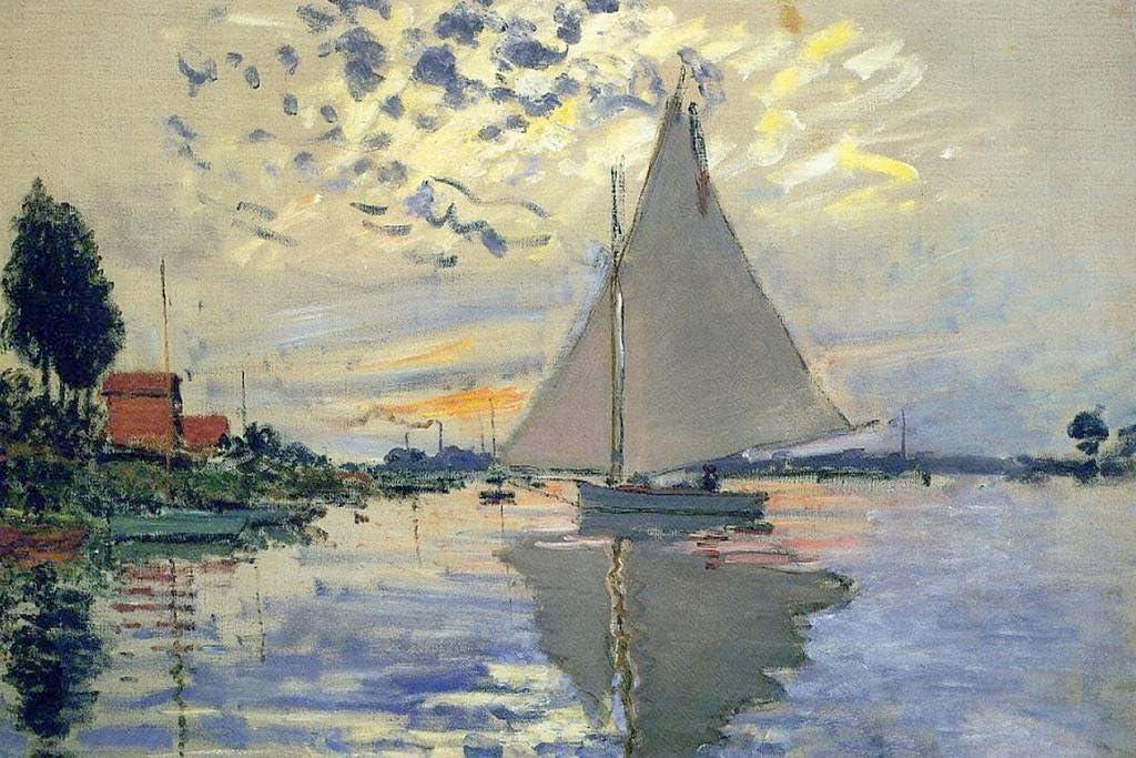 Claude Monet Sailboat at Le Petit Gennevilliers Cool Wall Decor Art Print Poster 36x24