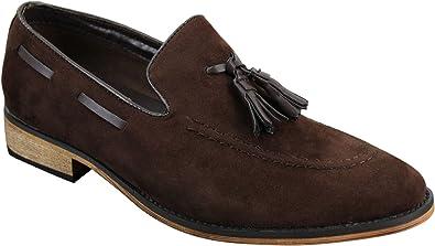 Chaussures Italiennes Mocassins Hommes Simili Daim Cuir Pompon sans Lacets Bleu Noir Marron