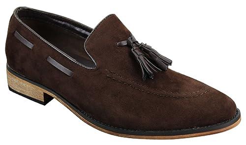 style de la mode de 2019 design distinctif assez bon marché Chaussures Italiennes Mocassins Hommes Simili Daim Cuir Pompon sans Lacets  Bleu Noir Marron