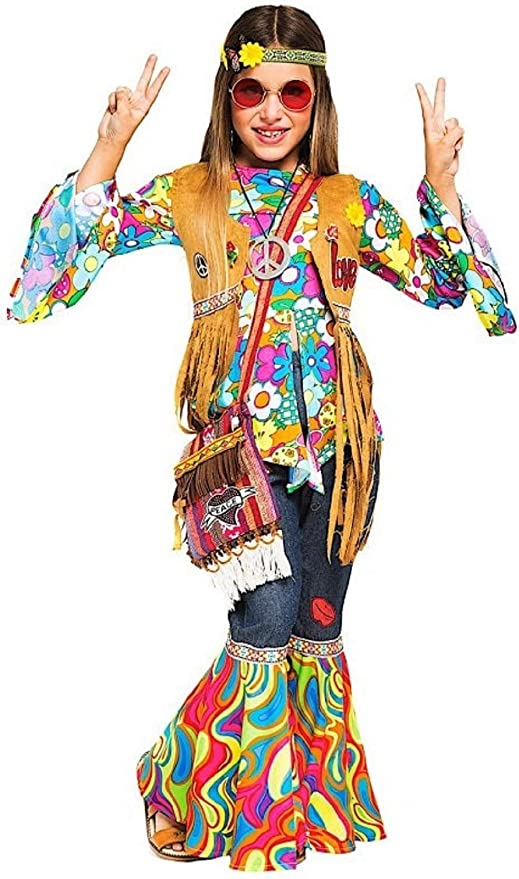 HIPPIE BOYS 60/'s 70/'s CHILDRENS FANCY DRESS AGE 4-10
