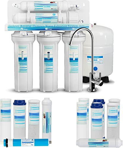 Geekpure 5-Stage Reverse Osmosis Drinking Water Filter System with Extra 7 Filters -NSF Certified Membrane Removes Up to 99 Impurities-Superb Taste High Capacity 75 GPD RO5