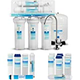 Geekpure 5-Stage Reverse Osmosis Drinking Water Filter System-Plus Extra 7 Pcs Filters for Free-75GPD