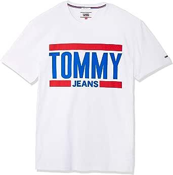 تي شيرت رجالي بأكمام قصيرة عليه شعار Tommy Hilfiger