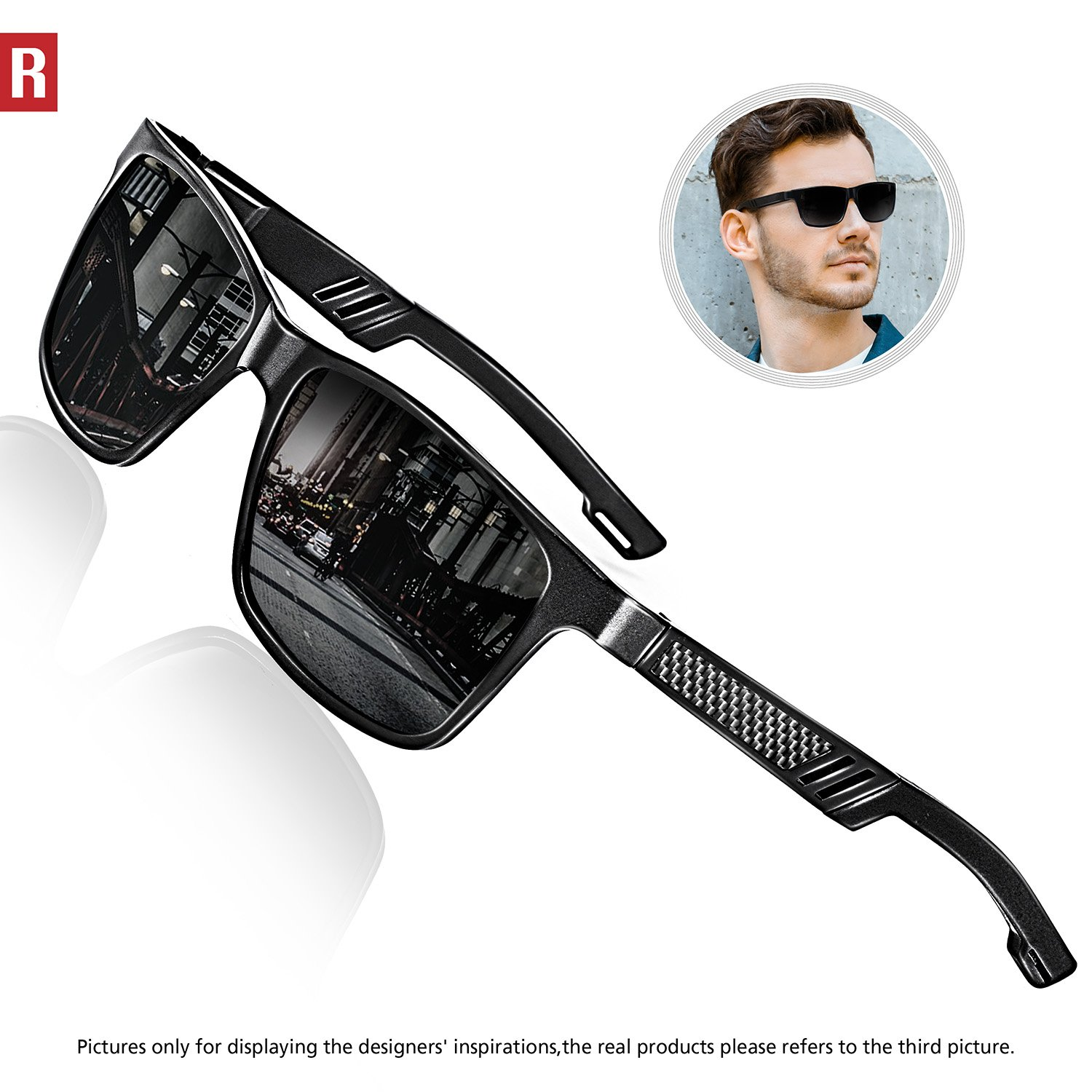 ROCKNIGHT Polarized UV Protection Driving Sunglasses for Men Wayfarer Metal Frame Al-Mg Lightweight Outdoors Sunglasses A6560