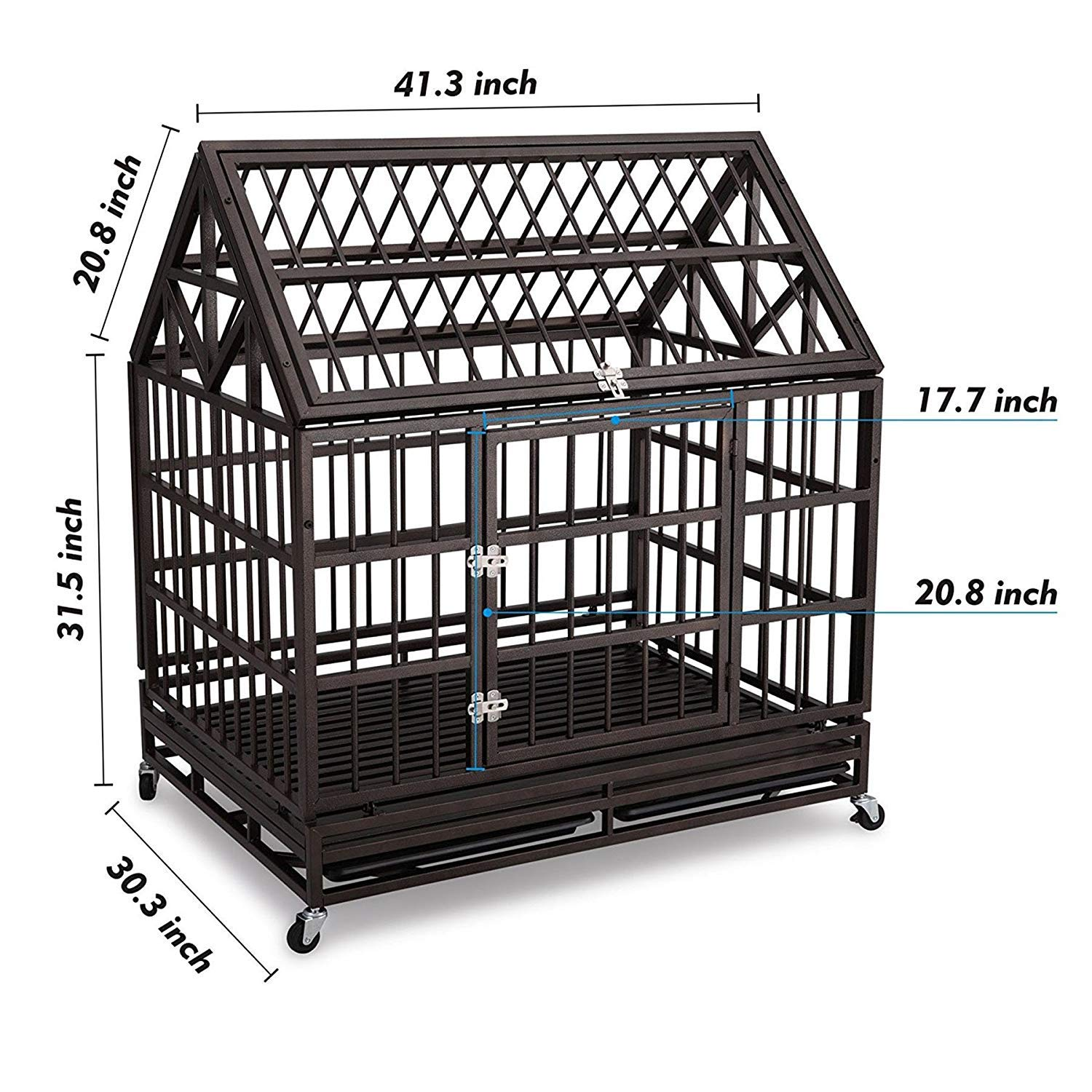 Haige Pet Your Pet Nanny Heavy Duty Dog Crate Cage Kennel Strong Metal for Large Dogs, Easy to Assemble Pet Playpen with Patent Lock & Four Wheels by Haige Pet Your Pet Nanny (Image #2)