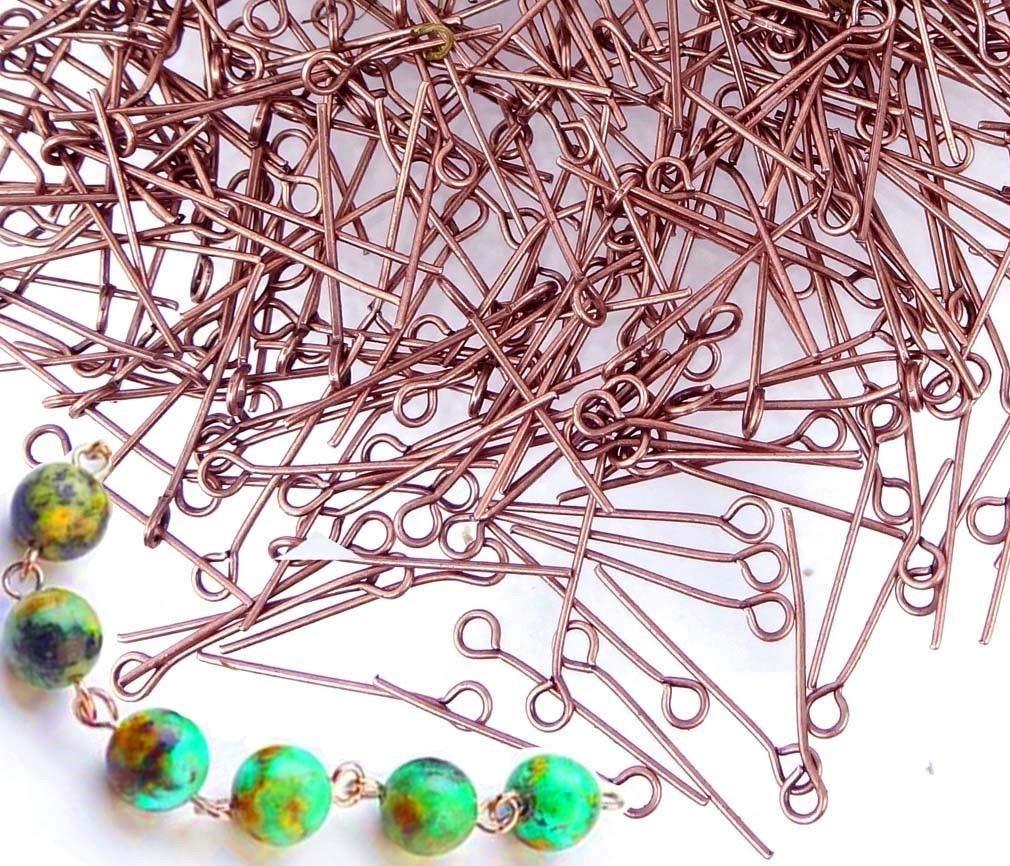 Bulk 500 Eyepins Antique Copper Plated Steel Eye Pins 21 Gauge 20mm Long