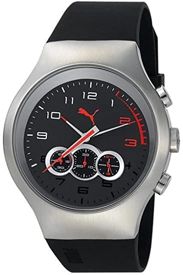 ee22d80aeff2 Puma Red Zone Chrono Silver Black Men s watch  PU102791001  Puma   Amazon.co.uk  Watches