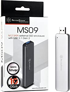 SilverStone Technology M.2 SATA SSD to USB 3.1 Gen 2 Enclosure with Retractable Aluminum USB Type-A Housing in Silver MS09S