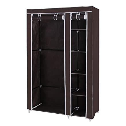 Styleys Folding Wardrobe Cupboard Almirah Foldable Storage Rack Collapsible  Cabinet (Brown)
