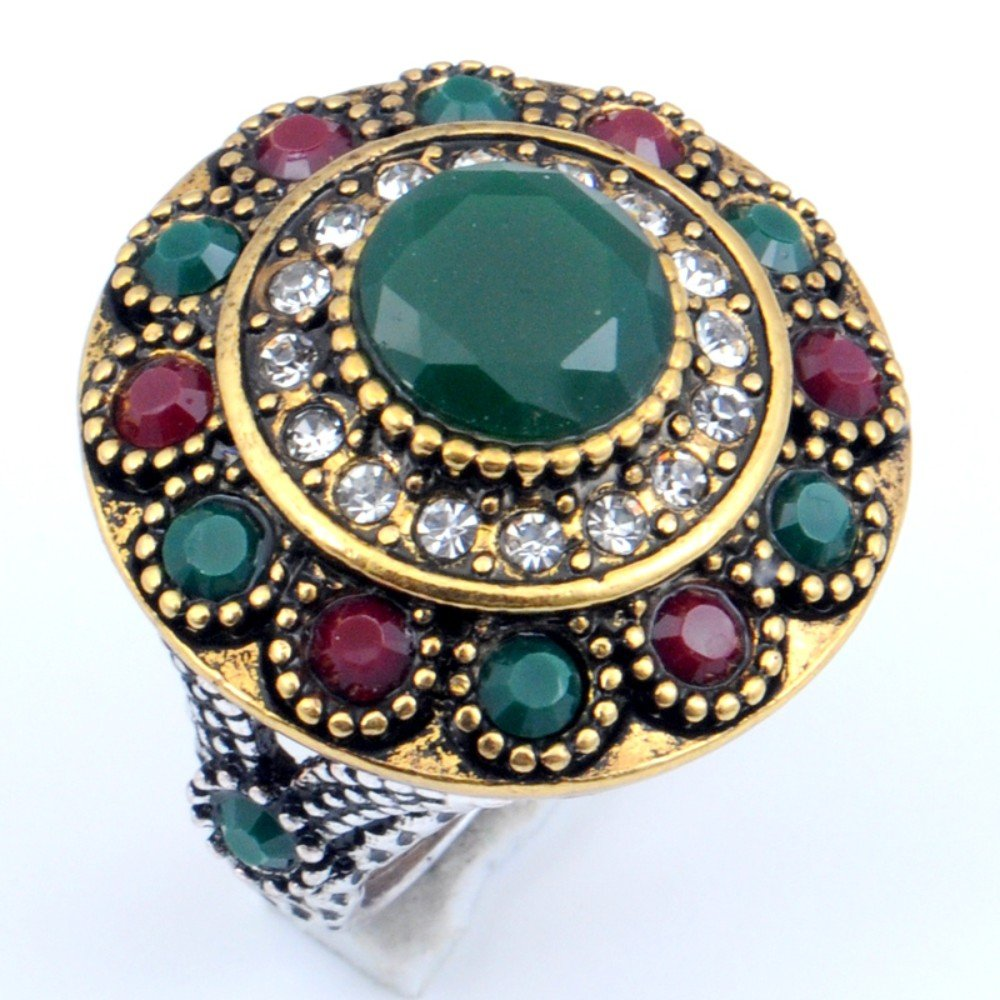 Turkish Style Dyed Ruby /& Emerald Silver Plated-Brass Ring Size 8.75 US Exotic Handmade
