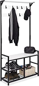 HOMEKOKO Coat Rack Shoe Bench, Hall Tree Entryway Storage Bench, Wood Look Accent Furniture with Metal Frame, 3-in-1 Design (White-Black)