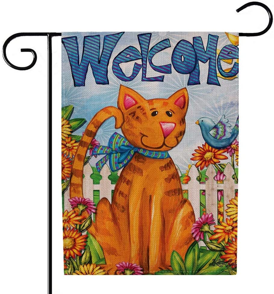 AUMIAU Welcome Garden Flag, Double Sided Spring Cat Burlap Yard Outdoor Decoration 12.5 x 18 Inch