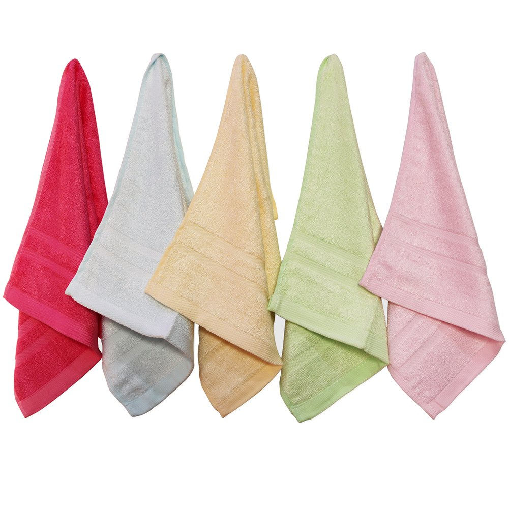 5-Piece Child Antibacterial Durable Towel Sets Bamboo Fiber Facecloth Hand Bath Towels,Soft Washcloth Absorbent Bathroom Towels,10'' x 19''