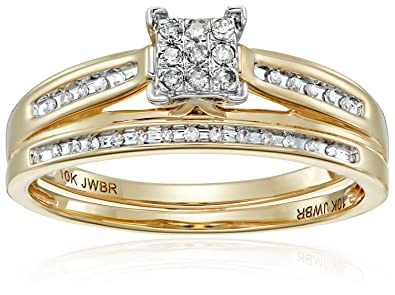 10K Yellow Gold Square Center Diamond Bridal Ring Set (1/7 Cttw),
