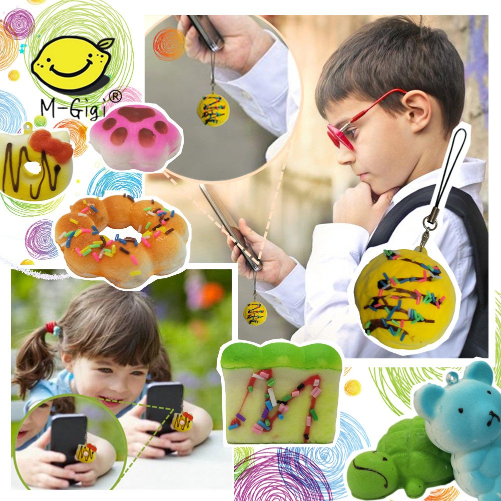 M-Gigi Random Squishy Cream Scented Slow Rising Kawaii Simulation Bread Children Toy, Soft Squishy Cake/Panda/Bread/Buns Phone Straps, Jumbo/Medium/Mini, 20 Piece by M-Gigi (Image #5)