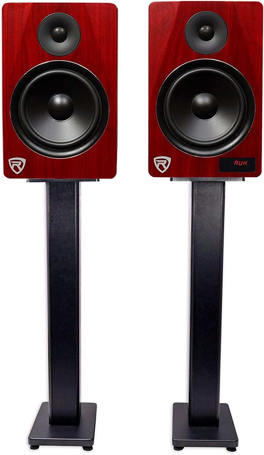 """Rockville HTS8C Pair 8/"""" 1000W Powered Home Theater Speakers Bluetooth//FM//USB//SD"""