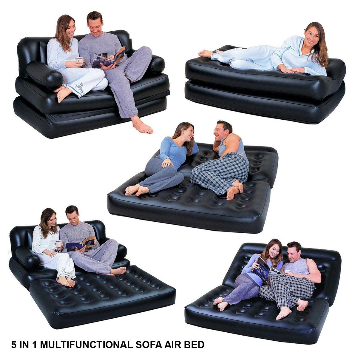 Hinchable multifunción 5 en 1. Doble cama de aire, sofá ...