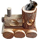 B&P Natural Wood Hamster Toys No Metal Design Can be Chewed (Little train)