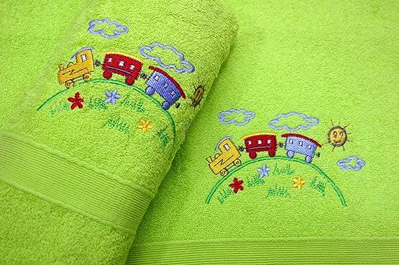 Juego de Toallas Infantiles Bordadas 2 piezas 450gr (Rosa RA): Amazon.es: Hogar
