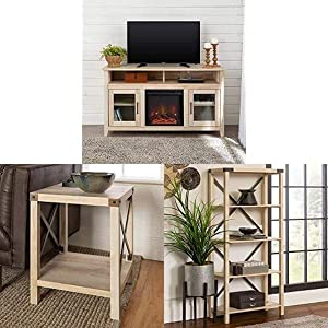 Walker Edison Furniture Company Rustic Wood and Glass Tall Fireplace Stand for TV's Cabinet Doors and Shelves with Small End Table and Bookshelf