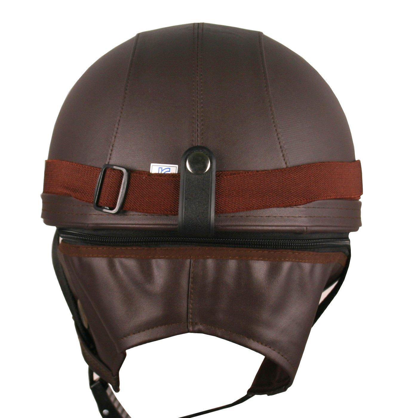 Amazon.es: Gafas de piel Vintage de estilo alemán de la mitad 1/2 casco motocicleta Biker Cruiser Casco de para patinete Touring