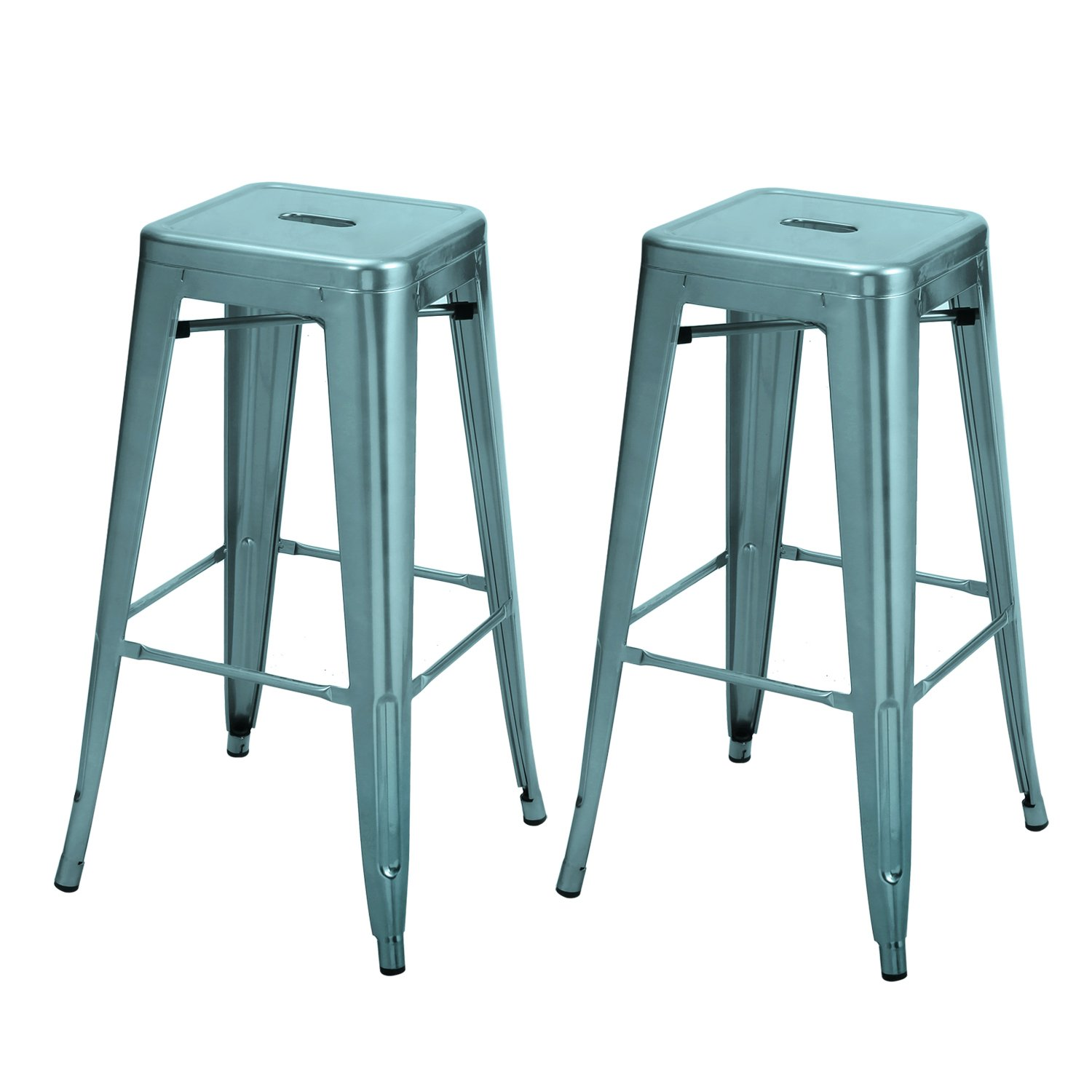 2016 New Adeco 30-inch Metal Bar Stools Barstool Tolix Style Industrial Chic Chair Backless, Glossy Blue, Set of 2 CH0039-8