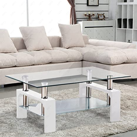 SUNCOO Coffee Table Glass Top with Shelves Home Furniture Clear Rectangle  (White)