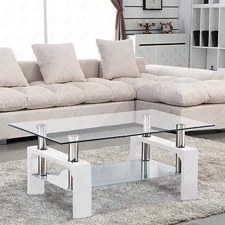 exciting amazon living room furniture. SUNCOO Rectangular Glass Coffee Table Shelf Chrome White Wood Living Room  Furniture Amazon com
