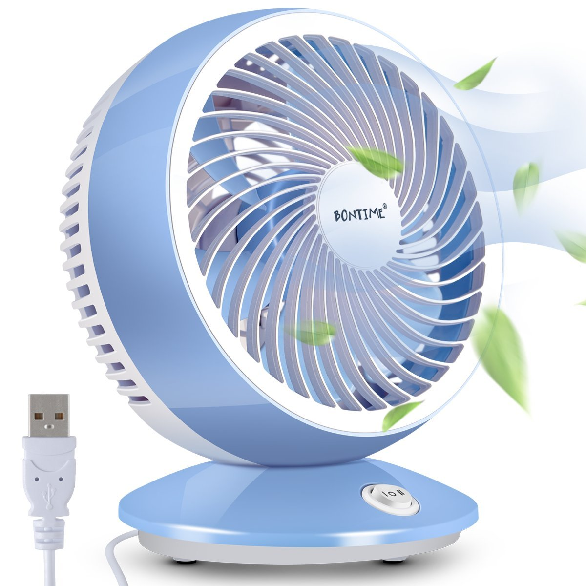BONTIME Desk Fan - Table Fan for Home, Ultra Quiet Cooling Personal Fan Air Circulator Fan with Adjustable Tilt, Brushless Motor, USB Powered Fan - Long Cord, 6 Inches (Maya Blue)