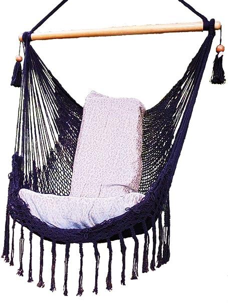 Amazon Com Black Hammock Chair With Macrame Edge Handmade Cotton