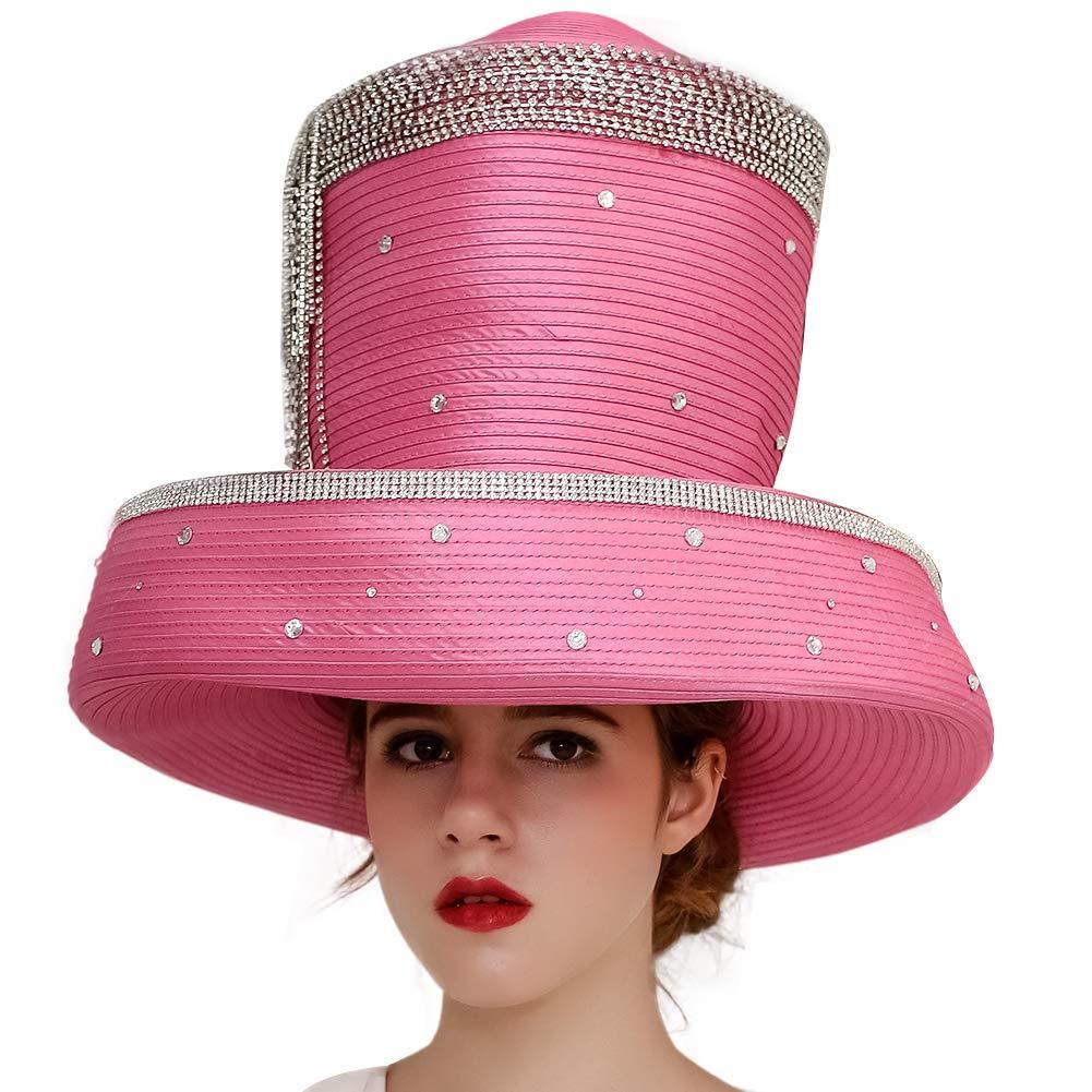 Koola Women's Silvery Church Derby Hat Big Wide Brim Wedding Hat Tea Party Hat (Pink)